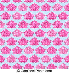 Pink Lotus Flower Seamless Pattern