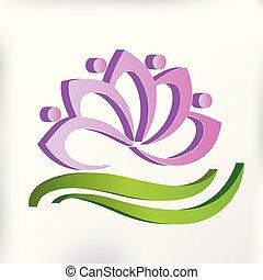 Pink lotus flower spa massage symbol logo