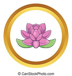 Pink lotus flower vector icon