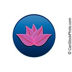 Pink lotus plant inside circle logo vector