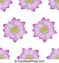 Pink lotus seamless pattern. Vector realistic floral repeat background