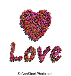 pink love and heart create by flowers white background
