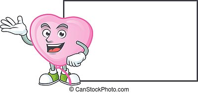 Pink love balloon with whiteboard cartoon character style