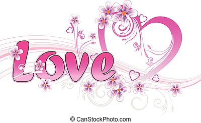 Pink love heart on a white background