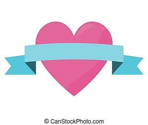 pink love heart ribbon