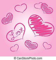 pink love heart symbols grunge hand-drawn eps10