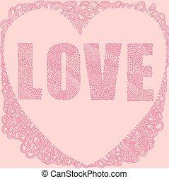 Pink love heart word