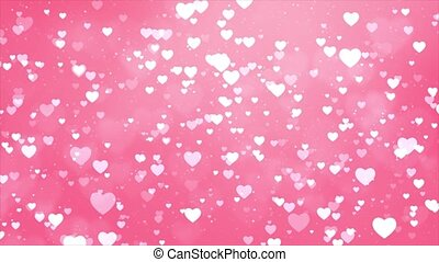 Pink love hearts bokeh sparkle glitter particle motion Loop background