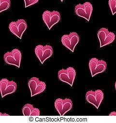 Pink love hearts on black seamless pattern