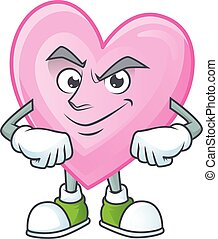 Pink love mascot cartoon character style with Smirking face
