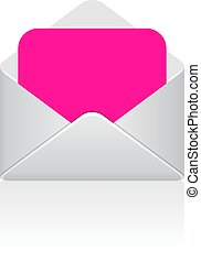 Pink love message, blank vector template
