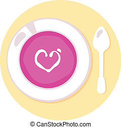 Pink love soup isolated on orange circle background