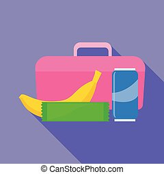 Pink lunchbox icon, flat style