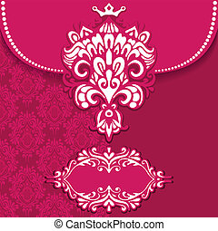 Pink Luxury royal card vector frame
