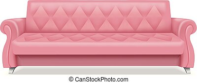Pink luxury sofa icon, realistic style