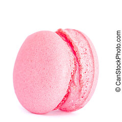 Pink macaron isolated on white background