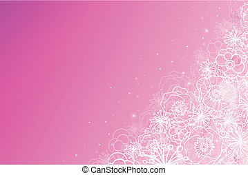 Pink magical flowers glowing horizontal background