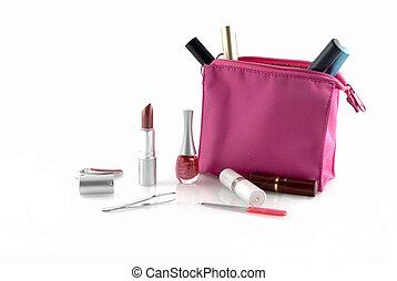 make-up case - Pink make-up case filled with several make-up...