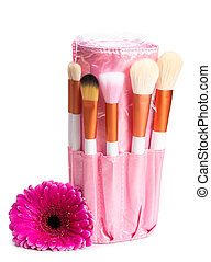 Pink makeup brush set with flower