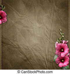 pink mallow on retro background