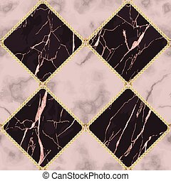 Pink Marble and Gold Chain Luxury Geometric Seamless Pattern