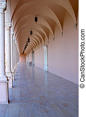 Pink Marble Hallway - A pink marble hallway with greco roman...