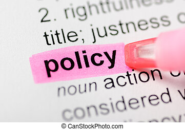Pink marker on policy word