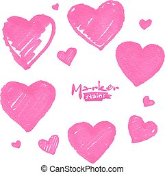 Pink marker painted isolated vector hearts set