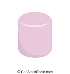 Pink marshmallow icon, flat style