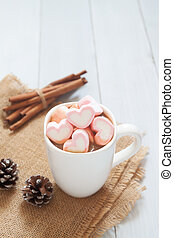Pink marshmallows on hot chocolate cup, Beautiful beverage, Love concept