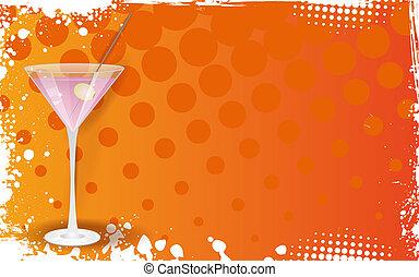 Glass of pink martini on grunge orange background