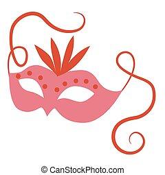 Pink mask flat color illustration on white