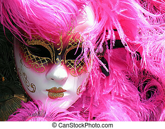 Pink Mask - Pink Venetian Mask used in Carnivals (Mardi Gras...