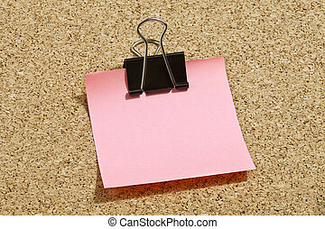 pink memo note with binder