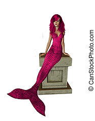 Pink Mermaid Sitting On A Pedestal - Pink mermaid sitting on...