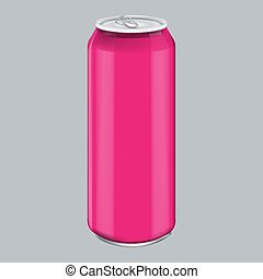 Pink Metal Aluminum Beverage Drink. Mockup for Product Packaging. Energetic Drink Can 500ml, 0,5L