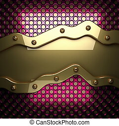 pink metal background with yellow element. 3D illustration
