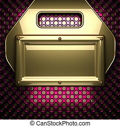 pink metal background with yellow element