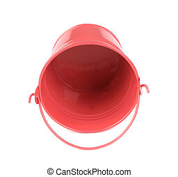 Pink metal bucket. Isolated on a white background.