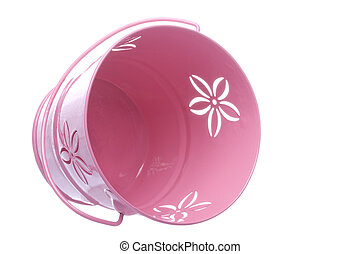 Isolated image of a pink metal pail.