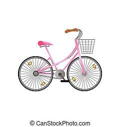 Pink metal woman bicycle with metal basket and pink seat -...