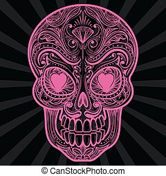 Pink mexican sugar skull tatoo