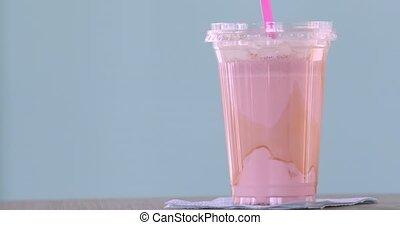 Pink milkshake plastic cups takeaway - Strawberry milkshake...