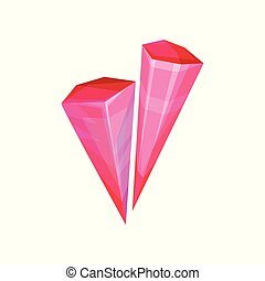 Pink mineral crystalic precious stone, crystal gem vector Illustration on a white background
