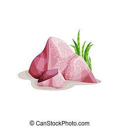 Pink mineral rock stone, design element of natural landscape vector Illustration on a white background