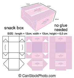 Cake box square a template of a small square cake box stock pink minimalist snack box pronofoot35fo Choice Image