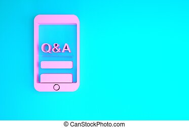 Pink Mobile phone with Question and Exclamation icon isolated on blue background. Frequently asked questions. Minimalism concept. 3d illustration 3D render