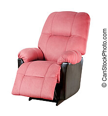 Pink modern armchair isolated on white