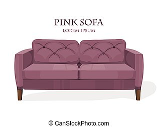 Pink modern sofa isolated on white background Vector templates