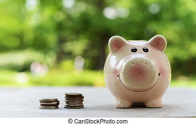 Pink money box for coins for economy
